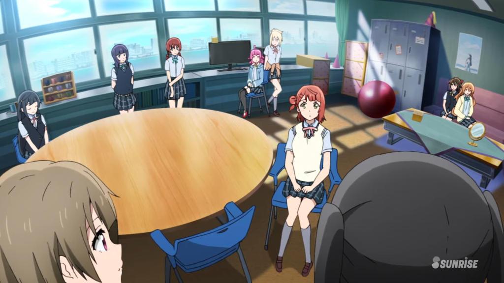 スクールアイドルフェスティバルの準備について部室で話し合う虹ヶ咲学園スクールアイドル同好会のメンバー